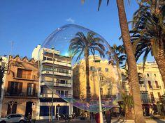 sitges et un palmier dans une bulle de savon