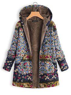 Women Vintage Autumn Winter Warm Coat Printed Fleece Coat Retro Outerwear Streetwear Coat 2019 Manteau Femme Hiver Blue S Winter Coats Women, Coats For Women, Clothes For Women, Ladies Clothes, Ladies Dresses, Damen Mantel Winter, Ärmelloser Mantel, Plus Size Pullover, Plus Size Coats