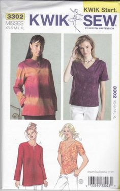 Kwik Sew Sewing Pattern 3302 Misses Sizes XS-XL (approx Pullover Tops Sleeve Neckline Options Types Of Patterns, Kwik Sew, Sewing Patterns, Neckline, Pullover, Sleeves, Shopping, Clothes, Tops