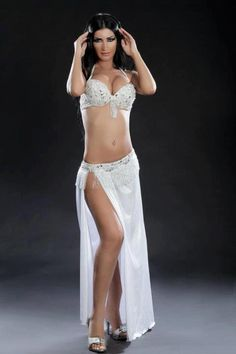 white belly dancing costume