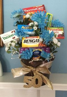 Old Age Remedies Tucked Into A Flower Arrangement Is Comforting Idea For 50 Birthday See More Gag Gifts And Party Ideas At One Stop