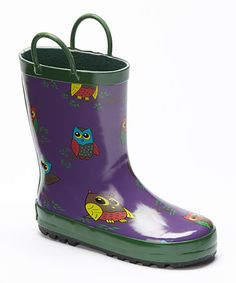 Another great find on #zulily! Purple Owls Rain Boot by Foxfire #zulilyfinds