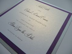 "Formal ""announce their marriage"" Save the Date with a silver and purple colour scheme"