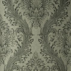 57-51944 Silver Linen Damask - Vincenzo - Kenneth James Wallpaper