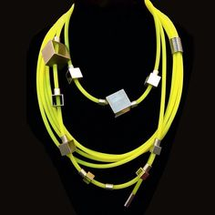 Essemge and necklace combo from the Graphic & Drape collections. In striking neon yellow. Neon Yellow, Diys, Bangles, Silicone Rubber, Gold, Alternative, Collections, Jewellery, Style