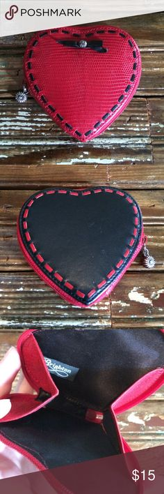 Leather Brighton Coin Purse Adorable red and black leather heart shaped coin purse. Perfect condition! Brighton Accessories