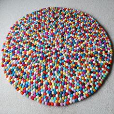 100cm Multicoloured Felt ball Rug, Round Felt Rug, Kids Bedroom Rug, Colourful Pom Pom Rug, Boys Feltball Rug, Girls Feltball Rug, Playroom by MKKidsInteriors on Etsy https://www.etsy.com/listing/254535481/100cm-multicoloured-felt-ball-rug-round