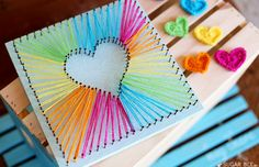 Best DIY Rainbow Crafts Ideas - Heart String Art - Fun DIY Projects With Rainbow.Best DIY Rainbow Crafts Ideas - Heart String Art - Fun DIY Projects With Rainbows Make Cool Room and Wall Decor, Party and Gift Ide# Art Kids Crafts, Bee Crafts, Crafts To Make, Easy Crafts, Kids Diy, Teen Girl Crafts, Upcycled Crafts, Summer Crafts, Creative Crafts