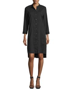 3/4-Sleeve+Linen-Blend+High-Low+Dress,+Plus+Size+by+Eileen+Fisher+at+Neiman+Marcus.