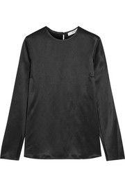Open-sleeved top in black silk-satin