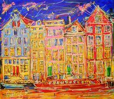 Online veilinghuis Catawiki: Mathias - Canal of Amsterdam, red night boat