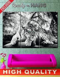 Tiger black and white tiger canvas striped tiger tiger