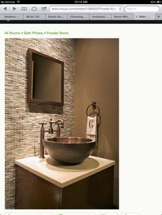 Home Accents Bathroom Powder Rooms - 55 Awesome Powder Room with Accent Wall Ideas Tile Accent Wall, Stone Accent Walls, Diy Bathroom Decor, Bathroom Renos, Bathroom Ideas, Tiny House Bathroom, Small Bathroom, Dyi, Upstairs Bathrooms