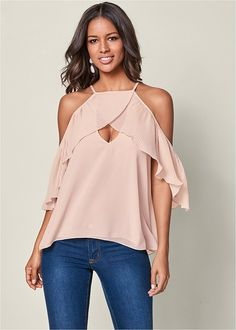 Order a sexy Pleated Cold Shoulder Top from VENUS. Shop short sleeve tops, tanks, tees, blouses and more at an affordable price today! Fashion 2018, Spring Fashion, Women's Fashion, Formal Dress Shops, Colored Skinny Jeans, Diy Clothes, Work Clothes, Everyday Fashion, Fashion Photography