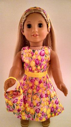 """GORGEOUS HANDMADE DOLL CLOTHES  ~ DRESS ~ FITS 18"""" AMERICAN GIRL DOLL d155"""
