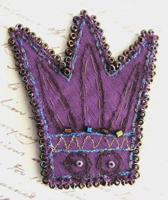 Textile Crown Brooch Royal Purple Embroidered and by The7thMagpie