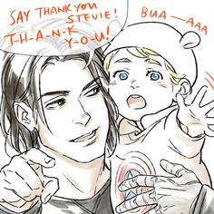 Bucky and bb!Steve fanart by temariart | And now I can't stop thinking about the fact that Bucky, if he ever has a son, will unquestionably name him Steven.