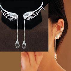 Angel's Wing Dangling Rhinestone Ear Clips   LilyFair Jewelry