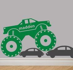 """This is going in Thade's room - I'm getting it custom made to match Grave Digger's colors (top portion purple, bottom portion green, & tires & hubcaps black) & of course it will read """"Thaden"""" instead of Madden"""