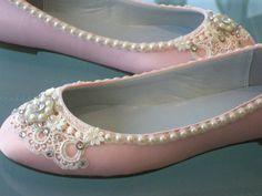 Pink Sugar Bridal Ballet Flat Wedding Shoes  Any by BeholdenBridal  Sweet!