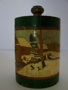 Antique Russian Painted Carved Wood Tea Caddy/ Box, ca. 1900