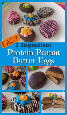Make delicious chocolate-covered Protein Peanut Butter Eggs in a snap with only 3 ingredients!  Simple instructions for an amazing Easter treat packing a protein punch!  WeighToMaintain.com