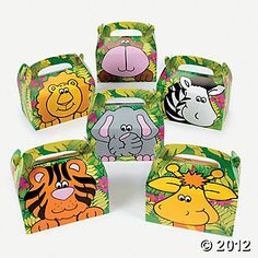 Zoo Animal Treat Boxes, Paper Goody Bags & Boxes, Party Favor & Goody Bags, Party Themes & Events - Oriental Trading