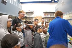 The West Side Science Club visits a chemistry lab at Caltech. Photo credit: Carolyn Patterson #chembark