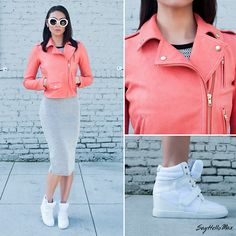Color Theory (by SayHello Max) http://lookbook.nu/look/4572005-Theory-Elenian-Leather-Jacket-Mesh-Wedge-Sneakers