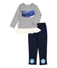 Sophie & Sam Navy Whale Top & Leggings - Infant, Toddler & Girls   zulily