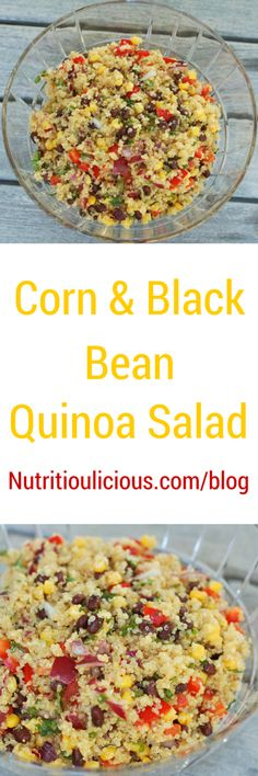 Corn and black beans join quinoa in a light, summery salad that's great as a side dish or for lunch on it's own.  Get the gluten-free, vegetarian, and vegan-friendly recipe @jlevinsonrd.