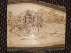 Mill scene pyography on basswood. Natural art for your home or business. See more on my facebook page. ref=tn_tnmn#!/pages/Austin-Wood-Creations/106083689469233