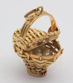 Vintage Large Picnic Basket Charm Pendant Pearl 18K Gold | eBay...