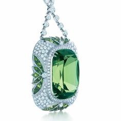 The green of meadows saturated with rain. Tsavorites of great size are rare, such as this 20.03-carat specimen showcased in a pendant of diamonds in platinum.