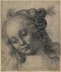 Andrea del Verrocchio 'Head of a Woman': I saw this at an exhibition of Renaissance drawings at the National Gallery with Frith. Italian Renaissance, Renaissance Art, Renaissance Clothing, Salvador Dali, Michelangelo, Pablo Picasso, Art Postal, Moleskine, Giorgio Vasari