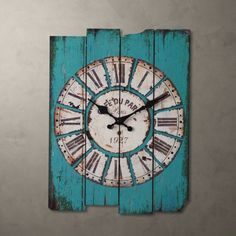 Vintage Retro Country Style Light Blue Wood Wall Clock Home Decor Watches