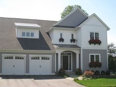 2 tone house siding idea -House Tour - The Lilypad Cottage White Exterior Houses, Grey Houses, Old Houses, Exterior Paint, Cute House, My House, Woodland House, Haus Am See, Michigan