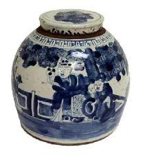 """Vintage Style Blue and White Porcelain Lidded Ginger Jar 8 Immortals 11"""""""