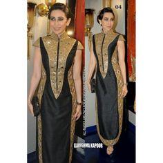 Bollywood Replica - Karishma Kapoor Black Pure Satin Fancy Party Wear Dress-04 (SIA-232)