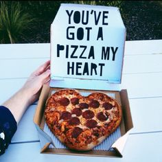 Food- Pizza. Valentines day ideas, boyfriend ideas, heart shaped pizza, pizza in a box, pizza lovers