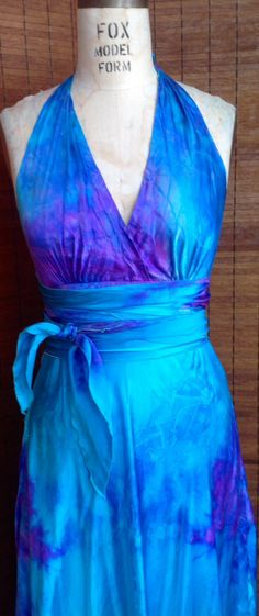 A personal favorite from my Etsy shop https://www.etsy.com/listing/235830376/turquoise-lavender-purple-silk-halter