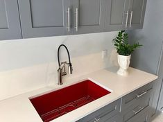 Laundry Room Sink, Laundry Room Design, Composite Sinks, Better Homes And Gardens, Interior Inspiration, Faucet, Color Pop, House Styles, Red