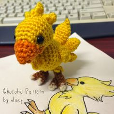 Crochet a cute chocobo with this pattern by Drunk with Caffeine