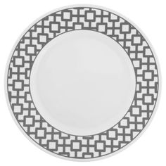 A striking lattice pattern on a wide rim plate creates both a bold and contemporary statement. C...