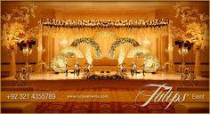 Golden Pakistani Wedding Theme decoration stage setup. Theme design and…