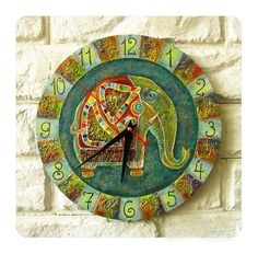 GreatElephant - The Green Indian Elephant  Wall Clock by ArtClock on Etsy, $40.00