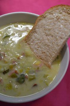 Soupe aux poireaux et au jambon
