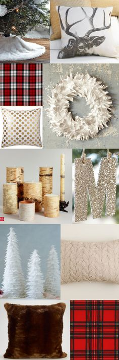 "christmas decor design board ""luxe lodge"" - love the white fur tree skirt"
