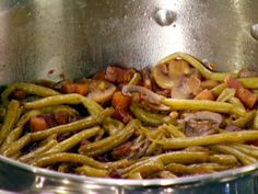 Bacon Braised String Beans from FoodNetwork.com  Makes some of the best green beans you've ever eaten. Replaces the old green bean & mushroom casserole, fer sure.