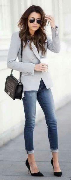 spring skinny jeans outfit #modaurbana
